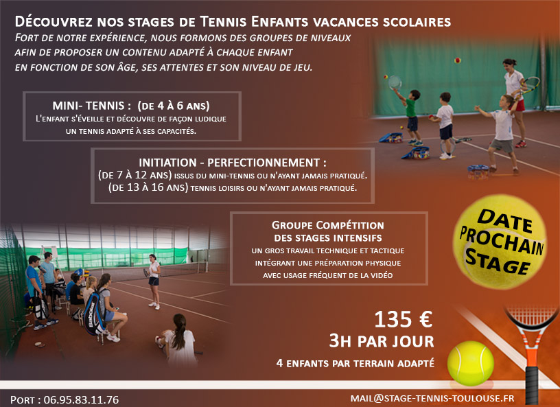 Stages Enfants Tennis Toulouse 31 - Formation Tennis Toulousain Stages -Mini-Tennis - Enfants - Adolescent